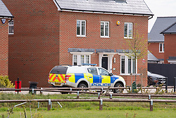 © Licensed to London News Pictures. 27/04/2021. Aylesbury, UK. A police vehicle on a nearby estate following an assault near Bridge 14 on the Grand Union Canal near Broughton in Aylesbury at about 12.20pm on Monday 26/04)/2021. Police officers found a man with serious injuries and despite the efforts of emergency services the man died at the scene. Photo credit: Peter Manning/LNP