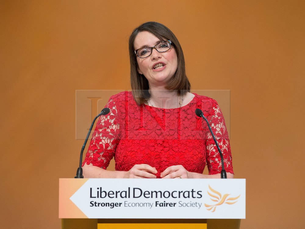 © Licensed to London News Pictures . 06/10/2014 . Glasgow , UK . KIRSTY WILLIAMS leader of the Welsh Liberal Democrats and the Member of the Welsh Assembly for Brecon and Radnorshire , addresses the conference . The Liberal Democrat Party Conference 2014 at the Scottish Exhibition and Conference Centre in Glasgow . Photo credit : Joel Goodman/LNP