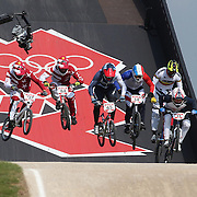 Male competitors in action at the first jump during the Cycling BMX Finals Day during the London 2012 Olympic games. London, UK. 10th August 2012. Photo Tim Clayton