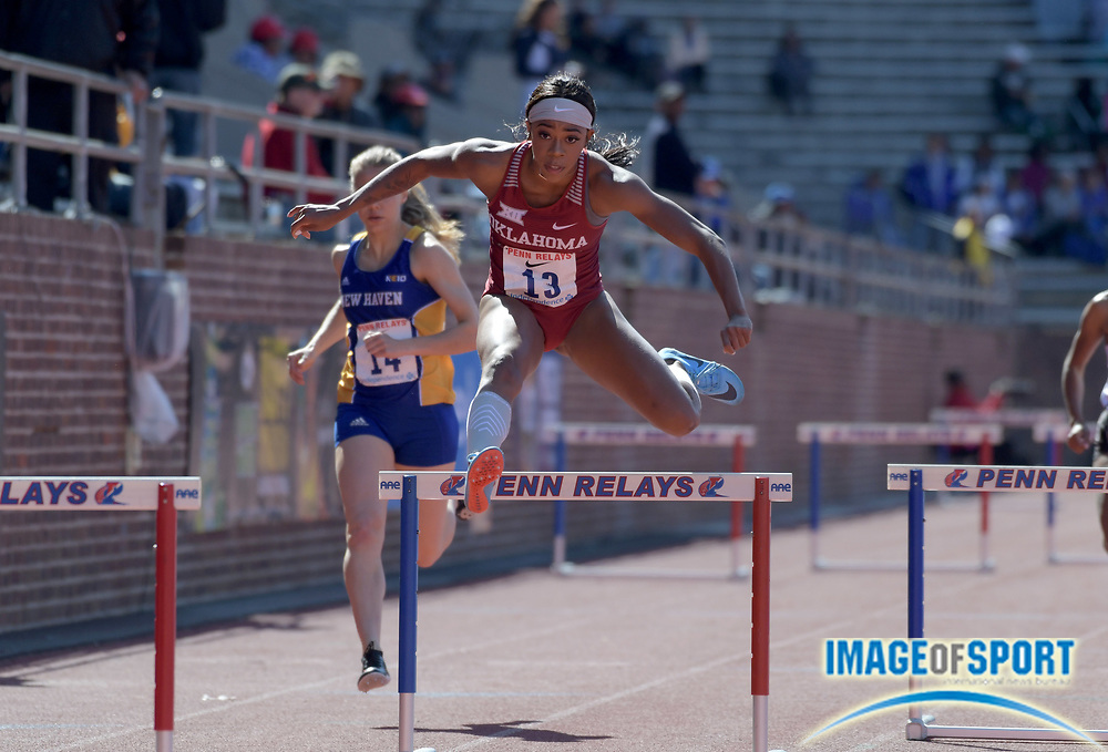 Apr 26, 2018; Philadelphia, PA, USA; Medinah Spencer of Oklahoma wins college women's 400m hurdles heat in 58.76 during the 124th Penn Relays at Franklin Field.