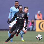 NEW YORK, NEW YORK - March 12:  Patrick Nyarko #12 of D.C. United is challenged by Jack Harrison #11 of New York City FC during the NYCFC Vs D.C. United regular season MLS game at Yankee Stadium on March 12, 2017 in New York City. (Photo by Tim Clayton/Corbis via Getty Images)