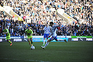 Adam Le Fondre of Reading misses a penalty during the Skybet championship match, Reading v Yeovil Town at the Madejski Stadium in Reading, Berkshire on Saturday 1st March 2014.<br /> pic by Jeff Thomas, Andrew Orchard sports photography.