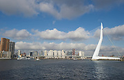 The Erasmus bridge over the Maas river, Rotterdam, Netherlands.De Erasmusbrug over de rivier de Maas in Rotterdam, Zuid Holland