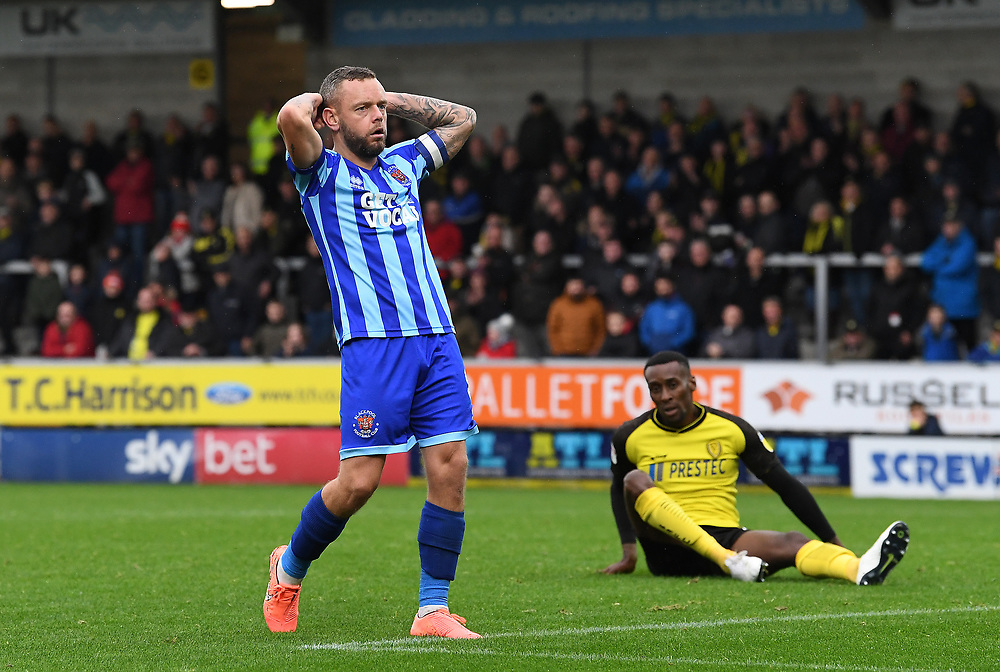 Blackpool's Jay Spearing reacts after missing a goal scoring chance<br /> <br /> Photographer David Horton/CameraSport<br /> <br /> The EFL Sky Bet League One - Burton Albion v Blackpool - Saturday 26th October 2019  - Pirelli Stadium - Burton upon Trent<br /> <br /> World Copyright © 2019 CameraSport. All rights reserved. 43 Linden Ave. Countesthorpe. Leicester. England. LE8 5PG - Tel: +44 (0) 116 277 4147 - admin@camerasport.com - www.camerasport.com