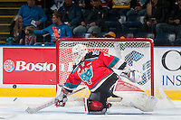 KELOWNA, CANADA - OCTOBER 14: Brodan Salmond #31 of Kelowna Rockets makes a save against the Saskatoon Blades on October 14, 2016 at Prospera Place in Kelowna, British Columbia, Canada.  (Photo by Marissa Baecker/Shoot the Breeze)  *** Local Caption *** Brodan Salmond;