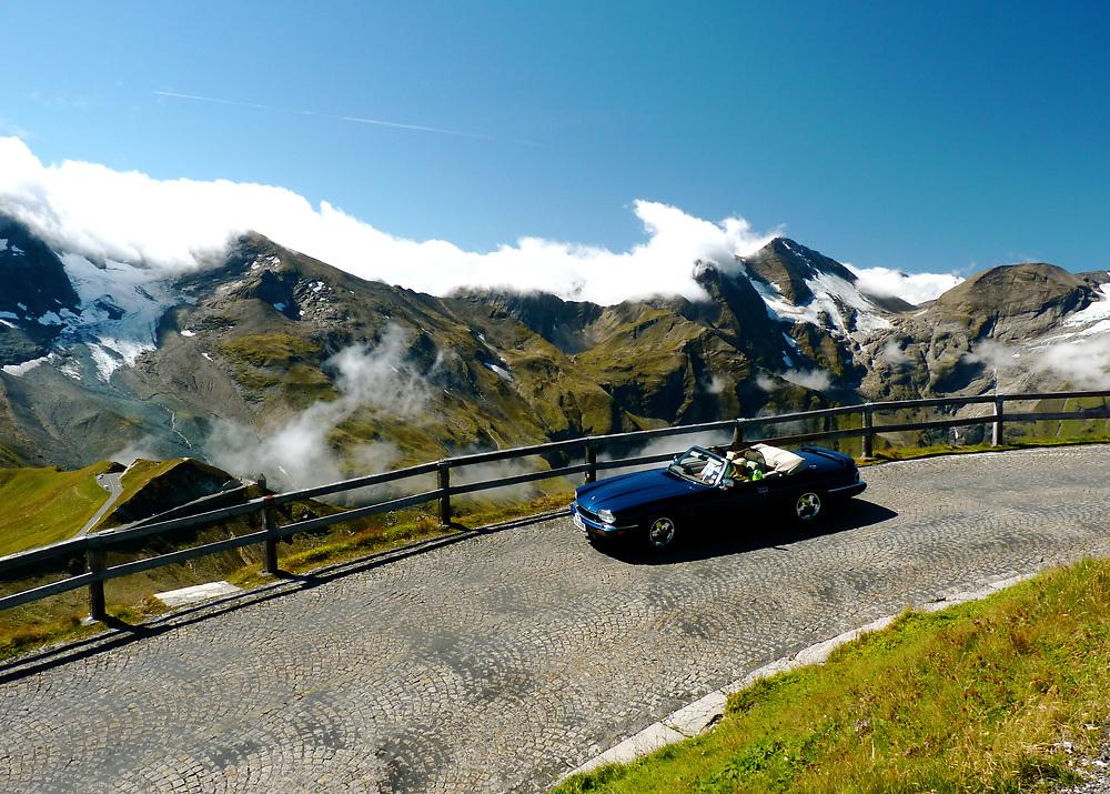 On the Grosglocknerhochalpenstrasse (Grosglockner High Alpine Road) in Austria, we caught this blue Jaguar Cabriolet enjoying an afternoon drive.