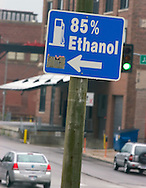 Signs point the way to  an E-85 pump in Omaha, Neb.  It is the only one in Omaha that has the 85% ethanol blend.. Photo stock for Ethanol in the Midwest. . Photo by Chris Machian