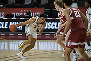 Southern California Trojans forward Isaiah Mobley (3) looks to drive past Stanford Cardinal forward James Keefe (22) during an NCAA men's basketball game, Wednesday, March 3, 2021, in Los Angeles. USC defeated Stanford 79-42. (Jon Endow/Image of Sport)