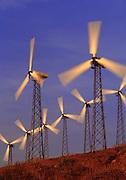 Image of wind turbines in San Gorgonio Pass near Palm Springs, California, America west coast by Randy Wells