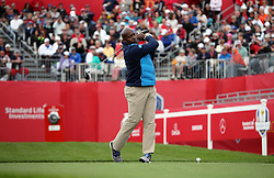 Europe's John Regis during a celebrity golf match ahead of the 41st Ryder Cup at Hazeltine National Golf Club in Chaska, Minnesota, USA.