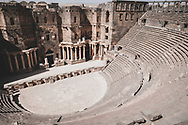 The Roman theatre in Bosra, in the district of Dar'a in southwestern Syria, was built in the second century using black basalt. It could seat around 15,000 people.<br /> <br /> (June 12, 2010)