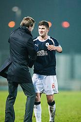 Falkirk's Stewart Murdoch and Steven Pressley, Falkirk manager at the end..Falkirk 1 v 1 Raith Rovers, 5/3/2013.