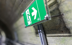 THEMENBILD - Notausgang Schild im Inneren der Staumauer Mooserboden Sperre, aufgenommen am 15. Juni 2017, Kaprun, Österreich // Emergency exit sign in the interior of the Mooserboden dam on 2017/06/15, Kaprun, Austria. EXPA Pictures © 2017, PhotoCredit: EXPA/ Stefanie Oberhauser