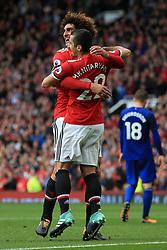 17th September 2017 - Premier League - Manchester United v Everton - Henrikh Mkhitaryan of Man Utd (R) celebrates with teammate Marouane Fellaini after scoring their 2nd goal - Photo: Simon Stacpoole / Offside.