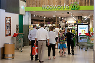 Customers line up outside Woolworths at Mitcham. New COVID Lockdown Restrictions announced today by the SA Premier Steven Marshall caused panic shopping at supermarkets as people stocked up with essential groceries.   (Photo by Peter Mundy/Speed Media)