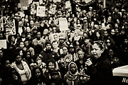 Black Lives Matter organizer Cat Brooks rallies thousands of people outside the Alameda County Court House for a protest. Brooks emerged as one of the most prominent leaders in the movement.