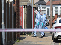 © Licensed to London News Pictures. 09/05/2018. London, UK, Police and Forensic officers in Sparsholt Road, Barking in East London where a male believed to be in his fifties was found at 6 am this morning with fatal injuries. Police are treating the death at the moment as unexplained. Photo credit: Steve Poston/LNP