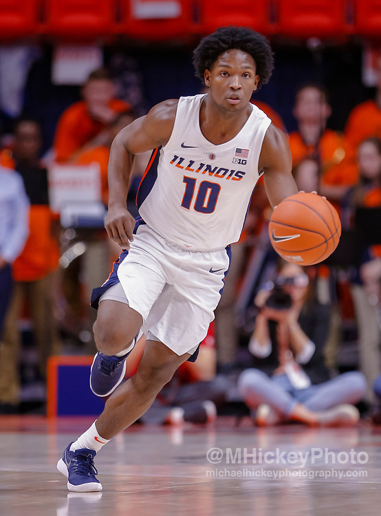 CHAMPAIGN, IL - JANUARY 23: Andres Feliz #10 of the Illinois Fighting Illini brings the ball up court during the game against the Wisconsin Badgers at State Farm Center on January 23, 2019 in Champaign, Illinois. (Photo by Michael Hickey/Getty Images) *** Local Caption *** Andres Feliz