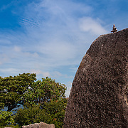 Pyramid of stomes on huge rock on Similan islands Thailand