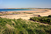 Sandside Bay, looking NE to Dounreay, with walkers on beach, Caithness, Highland.