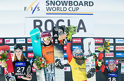 Second placed Carolin Langenhorst (GER), winner Ester Ledecka (CZE), third placed Ina Meschik (AUT) and fourth placed Claudia Riegler celebrate at trophy ceremony after Final Run at Women's Parallel Giant Slalom at FIS Snowboard World Cup Rogla 2017, on January 28, 2017 at Course Jasa, Rogla, Slovenia. Photo by Vid Ponikvar / Sportida