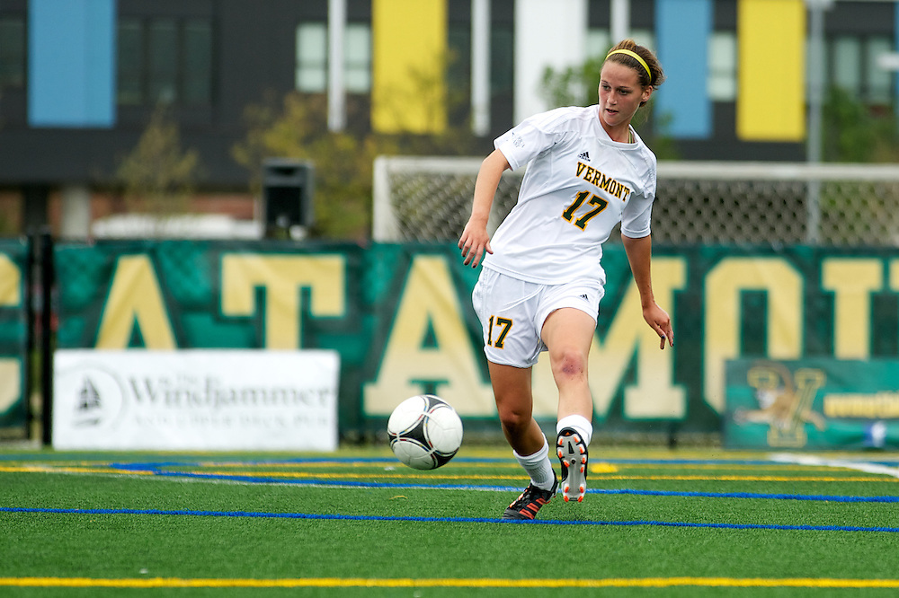 Vermont defenseman Carley Keer (17) kicks the ball during the women's soccer game between the Brown Bears and the Vermont Catamounts at Virtue Field on Saturday afternoon September 8, 2012 in Burlington, Vermont.