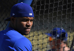 October 25, 2017 - Los Angeles, California, U.S. - Los Angeles Dodgers' Yasiel Puig prior to game two of a World Series baseball game against the Houston Astros at Dodger Stadium on Wednesday, Oct. 25, 2017 in Los Angeles. (Photo by Keith Birmingham, Pasadena Star-News/SCNG) (Credit Image: © San Gabriel Valley Tribune via ZUMA Wire)