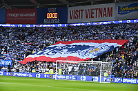 Football - 2018 / 2019 Premier League - Cardiff City vs. Leicester City<br /> <br /> Giant Thai flag behind the goals in Leicster's 1st match since the death of Vichai Srivaddhanaprabha, at Cardiff City Stadium.<br /> <br /> COLORSPORT/WINSTON BYNORTH