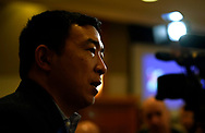 Democratic 2020 U.S. presidential candidate and entrepreneur Andrew Yang does an interview after speaking at a town hall meeting in Sioux City, Iowa, January 27, 2020.     REUTERS/Rick Wilking