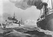 Spanish-American War 1898: USS McCulloch, Cruising cutter,   firing a warning shot across the bows of the German cruiser Irene, warning her off interfering in Spanish-American conflict.  Halftone