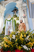 Altar of Sao Lazaro. Often the lines between Candomble and Catholicism are blurred. This is especially true with the Sao Lazaro event in late January in Salvador, Bahia, Brazil, the city which is known as the home of Candomble. Sao Lazaro represents healing and the sick.