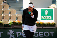 Nicole Melichar of the United States in action during the doubles semi-final of the Roland Garros 2020, Grand Slam tennis tournament, on October 9, 2020 at Roland Garros stadium in Paris, France - Photo Rob Prange / Spain ProSportsImages / DPPI / ProSportsImages / DPPI