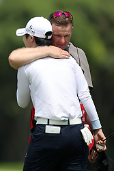 March 3, 2019 - Singapore - Sung Hyun Park, left, of South Korea is hugged by her caddie David Jones after her putt on the 18th hole during the final round of the Women's World Championship at the Tanjong Course, Sentosa Golf Club. (Credit Image: © Paul Miller/ZUMA Wire)