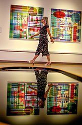 © Licensed to London News Pictures. 13/08/2020. York, UK.  A visitor walks past Project Fear a piece by Christiane Zschommler part of The Aesthetica Art Prize at York Art Gallery 13 August 2020.  18 contemporary artist with work that respond to key issues in todays digital world have pieces on display for The annual Aesthetica Art Prize at the Gallery until February 2021.  Photo credit: Nigel Roddis/LNP