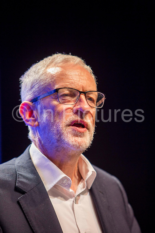 Jeremy Corbyn MP, Leader of the Labour Party speaking at the PCS annual delegate conference in 2019 in Brighton, United Kingdom.