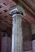 World War II. Bullet and shell damaged columns at the Pergamum Museum, Berlin. The Museum is situated on the Museum Island in Berlin. The site was designed by Alfred Messel and Ludwig Hoffmann and was constructed from 1910 to 1930.