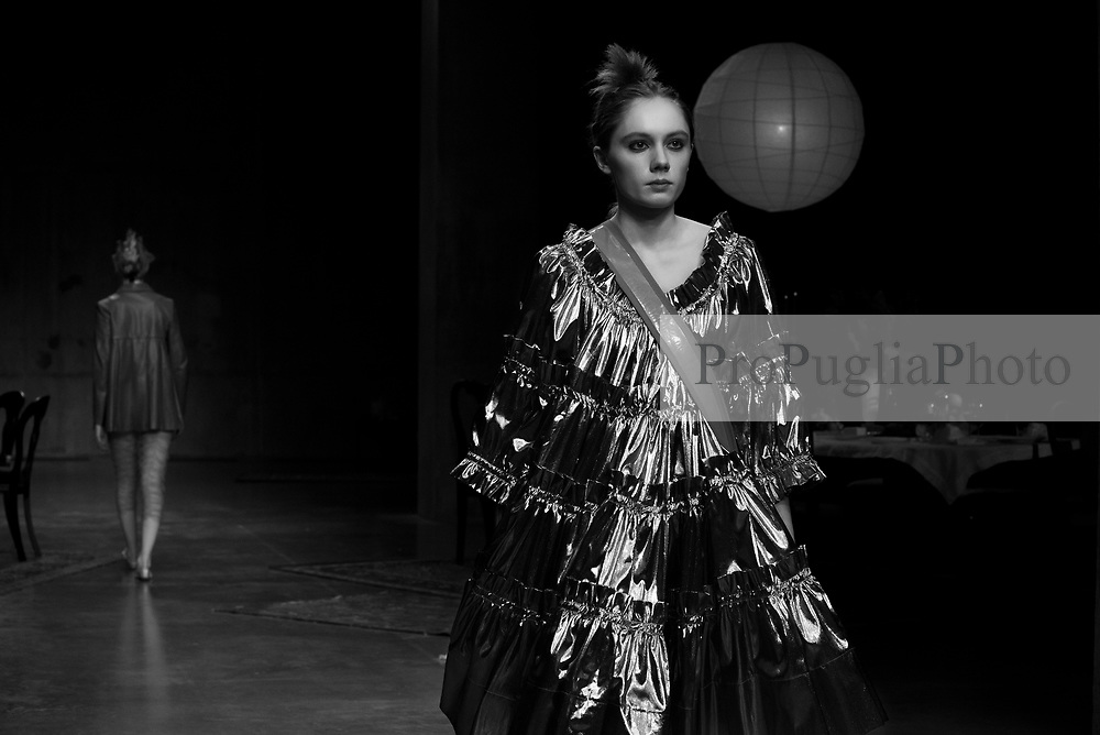 Born in London, United Kingdom 1988, Molly Goddard has achieved a BA in Fashion Knitwear from Central St Martins 2009 – 2012 followed by a MA in Fashion Knitwear also at Central St Martins London 2012 – 2014. She now lives and works in Ladbroke Grove.<br />  <br /> London Molly Goddard specialises in traditional hand-craft techniques such as hand pleating, smocking and crocheting. Her collections are held in some of the world's most prestigious stockists including Dover Street Market, Trading Museum Comme des Garcons, I.T, Browns, Boon the Shop and Club 21.<br />  <br /> In 2016 Molly won British Emerging Talent award at the 2016 Fashion Awards and is a 2017 LVMH Prize finalist. Her work touches upon themes of special occasions, nostalgia and coming of age, often taking inspiration from party dressing and Sunday best. The techniques that she utilises serve to create clothes that are both delicate and fragile, but the character she designs for conflicts with the beauty of her technique, bringing a clumsy and charming awkwardness to her silhouettes and fabric combinations. (source: www.londonfashionweek.co.uk)