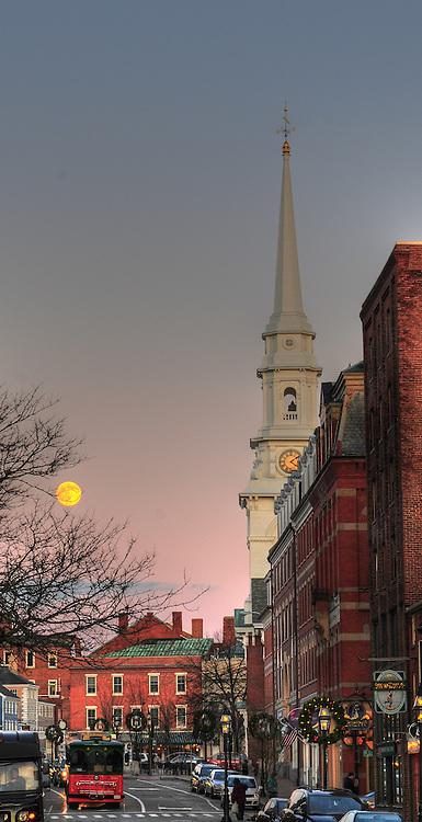 Moonrise over Portsmouth Downtown, Chritsmas