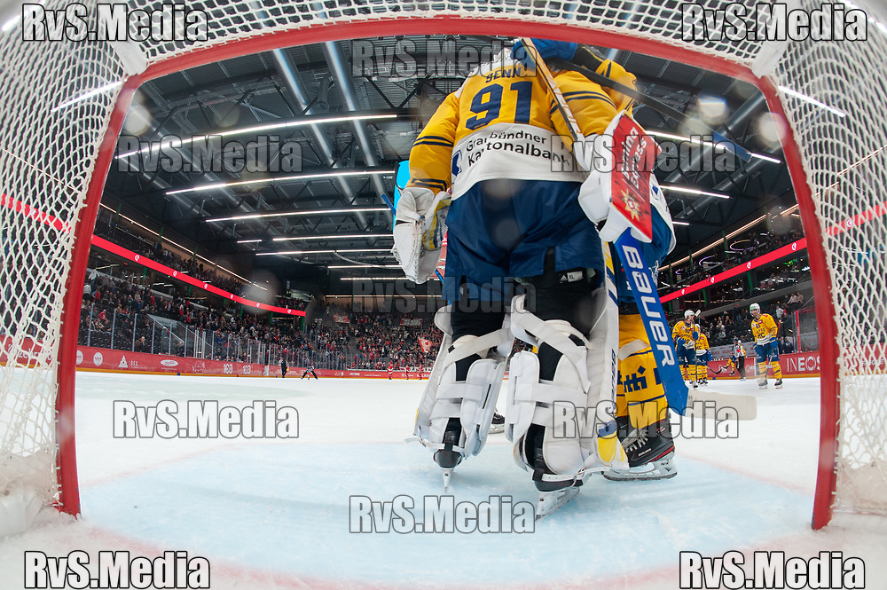 LAUSANNE, SWITZERLAND - SEPTEMBER 24: Goalie Gilles Senn #91 of HC Davos celebrates the win with teammates after the Swiss National League game between Lausanne HC and HC Davos at Vaudoise Arena on September 24, 2021 in Lausanne, Switzerland. (Photo by Robert Hradil/RvS.Media)