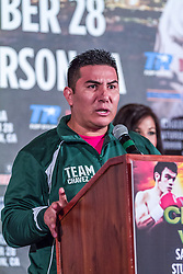 LOS ANGELES, California/USA (Friday, Aug 23 2013) - Trainer Vladimir Baldenebro of pro boxer Julio Cesar Chavez Jr (46-1-1, 32 KOs) attends the press conference at the Millenium Biltmore Hotel to announce the Chavez jr vs Vera fight next September 28 at the StubHub Center in Carson, CA. Los Angeles,CA USA. 29th August 2013. Fees must be agreed for image use. Byline, credit, TV usage, web usage or linkback must read: © SILVEXPHOTO.COM.