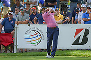 Russell Knox (SCO) watches his tee shot on 18 during 2nd round of the World Golf Championships - Bridgestone Invitational, at the Firestone Country Club, Akron, Ohio. 8/3/2018.<br /> Picture: Golffile | Ken Murray<br /> <br /> <br /> All photo usage must carry mandatory copyright credit (© Golffile | Ken Murray)