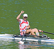 Lucerne, SWITZERLAND.  Men's Single Scull Semi-Final,  CRO. M1X. Mario VEKIC, finish area. 2012 FISA Olympic Qualifying Regatta on the Rotsee Rowing Course,  Tuesday  22/05/2012  [Mandatory Credit Peter Spurrier/ Intersport Images]