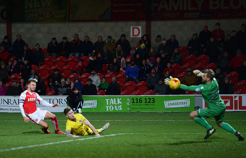 Fleetwood Town's David Ball scores his sides third goal <br /> <br /> Photographer Richard Martin-Roberts/CameraSport<br /> <br /> The EFL Sky Bet Championship - Fleetwood Town v Bristol Rovers - Saturday 14th January 2017 - Highbury Stadium - Fleetwood<br /> <br /> World Copyright © 2017 CameraSport. All rights reserved. 43 Linden Ave. Countesthorpe. Leicester. England. LE8 5PG - Tel: +44 (0) 116 277 4147 - admin@camerasport.com - www.camerasport.com