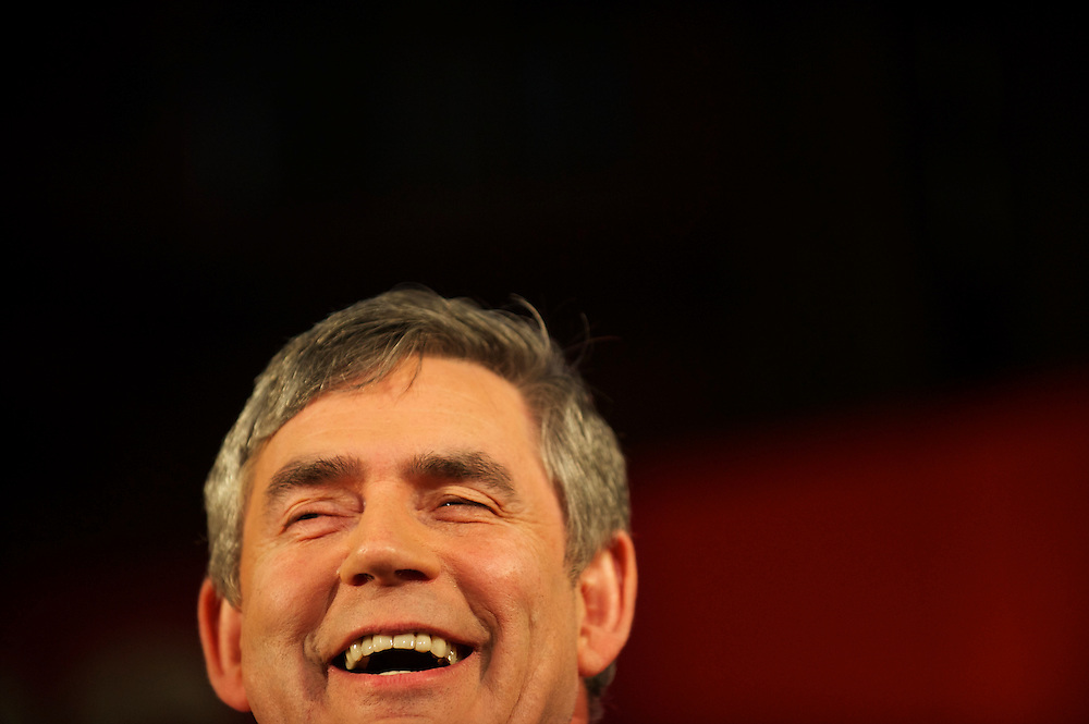 Prime Minister Gordon Brown campaigns on 3 May 2010, delivering a speech at the Citizens UK conference at Central Methodist Hall in Westminster, London, at which Conservatives leader David Cameron and Liberal Democrats leader Nick Clegg also spoke.  With the general election looming on 6 May 2010, considered to be the closest and most fiercely fought in decades, candidates are campaigning at a torrid pace, holding many events throughout the UK.