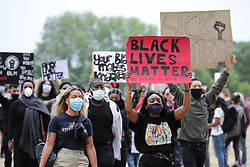 """© Licensed to London News Pictures. 03/06/2020. London, UK. Protesters in Hyde Park take part in a """"Justice for Black Lives' demonstration. Protests have taken place across the United States and in cities around the world in response to the killing of George Floyd by police officers in Minneapolis on 25 May. Photo credit: Rob Pinney/LNP"""