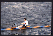 London. United Kingdom. Ian DRYDEN, 1990 Scullers Head of the River Race. River Thames, viewpoint Chiswick Bridge Saturday 07.04.1990<br /> <br /> [Mandatory Credit; Peter SPURRIER/Intersport Images] 19900407 Scullers Head, London Engl