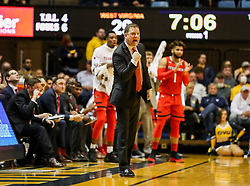 Feb 26, 2018; Morgantown, WV, USA; Texas Tech Red Raiders head coach Chris Beard celebrates along the bench during the first half against the West Virginia Mountaineers at WVU Coliseum. Mandatory Credit: Ben Queen-USA TODAY Sports