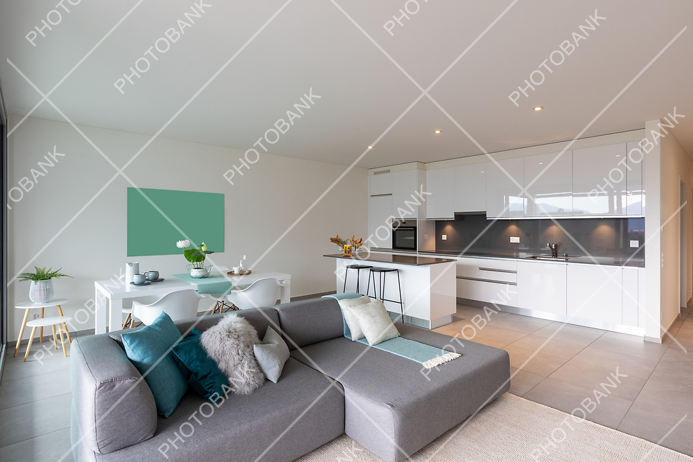 Interior of a kitchen open to the living room and dining room of a modern apartment. Nobody inside.