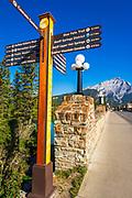 Interretive sign on Banff Avenue, Banff National Park, Alberta, Canada
