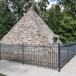 Fort Loudon, PA, USA - September 14, 2014: Memorial of President James Buchanan, 15th President of the United States, at the site of the log cabin where he was born in Cove Gap, near Mercersburg, Pennsylvania.